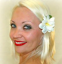 Load image into Gallery viewer, White Tropical Plumeria Hawaiian Hair Flower Clip