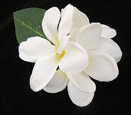 White Tropical Plumeria Hawaiian Hair Flower Clip