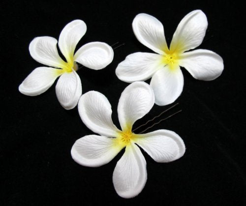 3 Inch White Plumeria Silk Flower Hair Pins - Set of 3