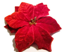 Load image into Gallery viewer, Quality Red Velvet Poinsettia Holiday Flower Hair Clip and Pin