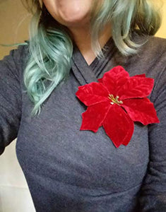 Quality Red Velvet Poinsettia Holiday Flower Hair Clip and Pin