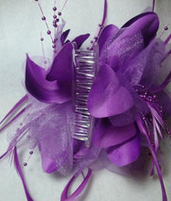 Load image into Gallery viewer, Purple Feather Flower Hair Clip Claw