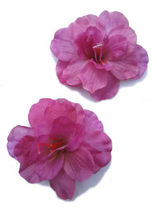 Purple Azalea Hair Flower Clips - Pair