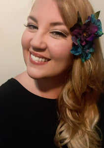 Purple and Blue Hair Flower Clip