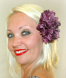 Bright Purple Dahlia Flower Hair Clip and Pin Back Brooch