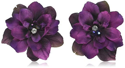 Pair of Purple Delphinium Flower Hair Clip with Crystals