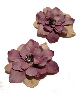 Lavender Purple Delphinium Flowers with Crystals Hair Flower Clips - Pair