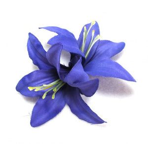 Double Purple Lily Hair Flower Clip