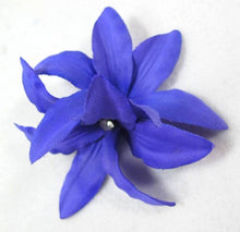 Load image into Gallery viewer, Purple Lily Flower with Rhinestone Hair Clip