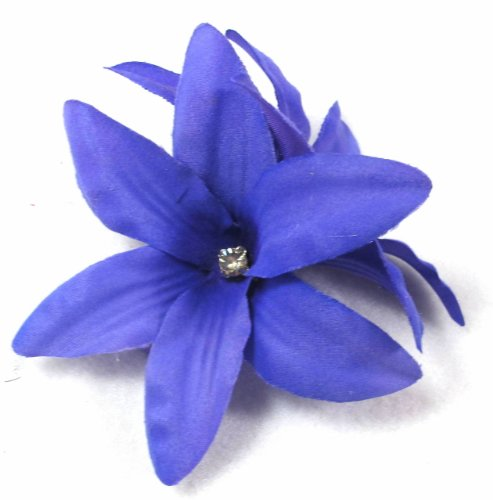 Purple Lily Flower with Rhinestone Hair Clip