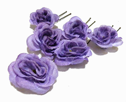 Small One Inch Lavender Purple Rose Hair Pins - Set of SIX