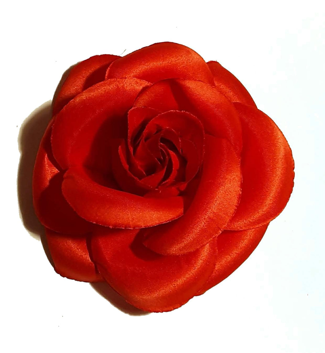 5 Inch Large Red Rose Hair Flower Clip
