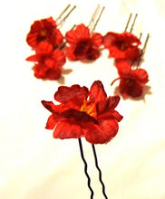 Load image into Gallery viewer, Small Red Hair Flower U Shaped Hair Pin Set of SIX 6