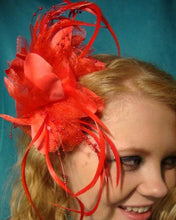 Load image into Gallery viewer, Red Feather Flower Hair Clip Claw