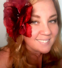 Load image into Gallery viewer, Burgundy Red Velvet Hair Flower Clip and Pin