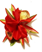 Load image into Gallery viewer, Red Orchid Tropical Paradise Flower Hair Clip