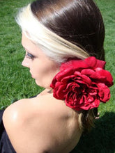 Load image into Gallery viewer, Red Open Sophia Rose Hair Flower Clip
