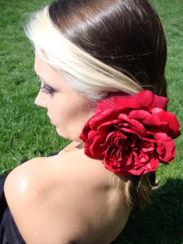 Red Open Sophia Rose Hair Flower Clip