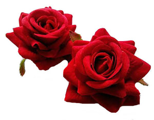 Red Rose Hair Flower Pair of Two