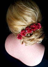 Load image into Gallery viewer, Small Red Rose Flower Hair Pins - Set of 6
