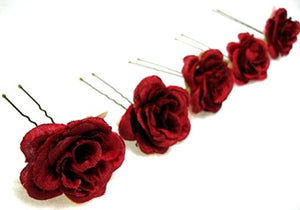 Small Red Rose Flower Hair Pins - Set of 6