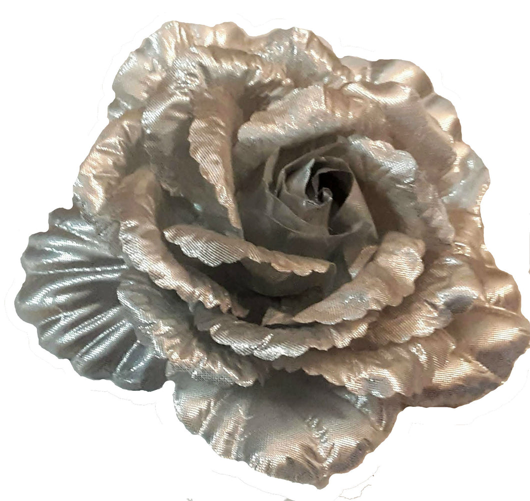 Large Silver Rose Hair Flower Accessory Clip Pin and Band