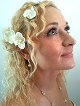 Load image into Gallery viewer, Small Ivory White Orchid Hair Flowers - Set of 6 Hair Pins