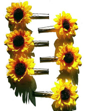 Load image into Gallery viewer, Small Sunflower Flower Hair Pins - Set of 6
