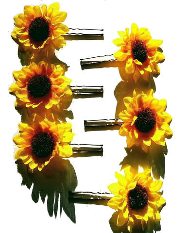 Small Sunflower Flower Hair Pins - Set of 6