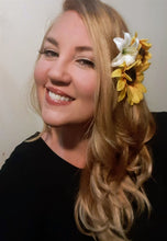 Load image into Gallery viewer, Sunflower Yellow and Ivory Lily Hair Flower Clip