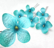 Load image into Gallery viewer, Small Turquoise Blue Hydrangea Cluster Hair Flowers- Set of 6