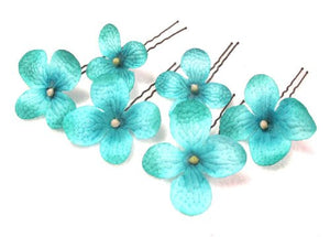 Small Turquoise Blue Hydrangea Cluster Hair Flowers- Set of 6