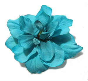 Malibu Blue Hair Flower Clip - Sold as a pair