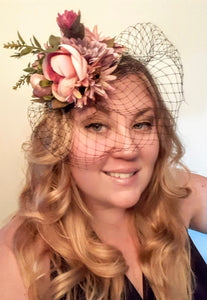 Flower Derby Easter Sunday Party Hat Hair Accessory with Veil