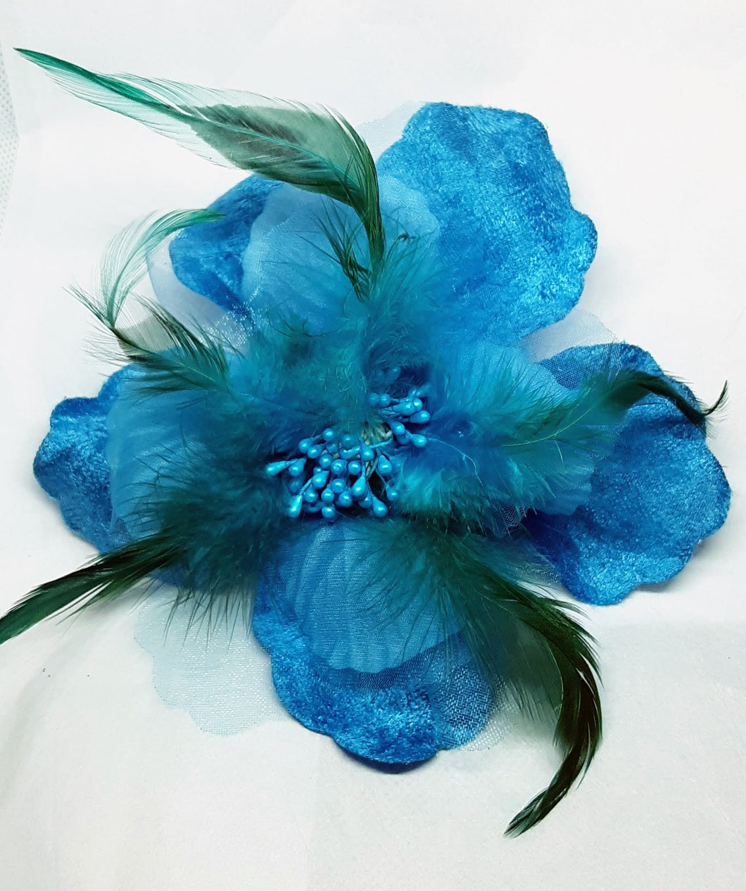 Blue Velvet Hair Flower Clip and Pin