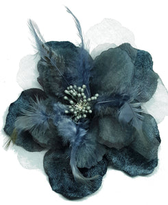Gray Velvet Hair Flower Clip and Pin