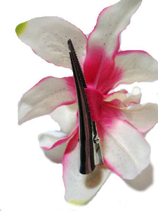 White and Pink Lily Flower Hair Clip
