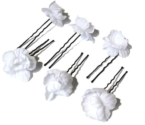 White Baby's Breath Hair Flower Pins - Set of 6