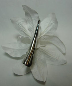 White Lily Flower Hair Clip