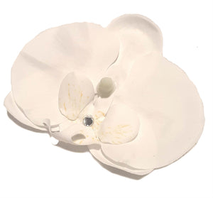 Bright White Tropical Orchid Hair Flower Clip