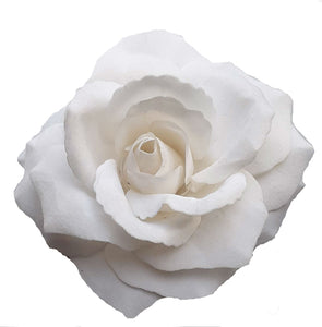 Large White Velvet Rose Hair Flower Clip