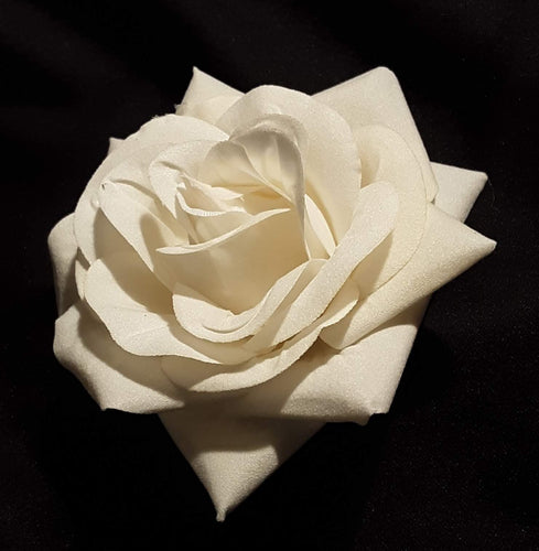White Ivory Velvet Rose Flower Hair Clip and Pin Brooch