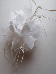 White Feather Flower Hair Clip Claw