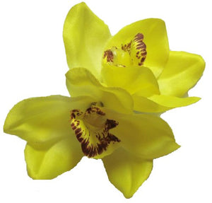Yellow Cymbidium Orchid Flower Hair Clip