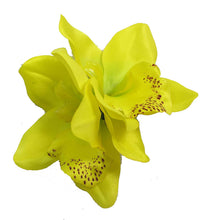 Load image into Gallery viewer, Yellow Cymbidium Orchid Flower Hair Clip