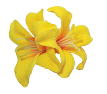 Load image into Gallery viewer, Small Yellow Double Lily Hair Flower Clip -  Sold as a pair