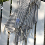 Load image into Gallery viewer, Cabana 100% Turkish Cotton Grey Stripe Bath and Beach Towel