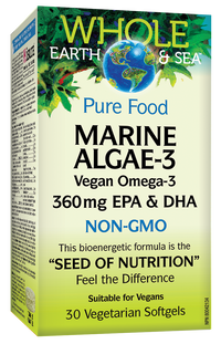 Natural Factors Whole Earth & Sea Marine DHA 30 Vegetarian Softgels