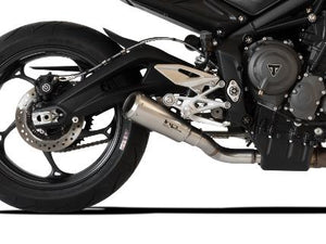 "HP CORSE Triumph STREET TRIPLE 765 Slip-on Exhaust ""GP-07 Satin with Aluminum Ring"" (racing)"