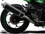 "DELKEVIC Kawasaki Ninja 300 Full Exhaust System with Stubby 18"" Carbon Silencer"